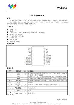 VK1S68C/VK1637/VK1638替代TM1628/TM1637/TM1638 LED液晶驱动芯片电子宣传册