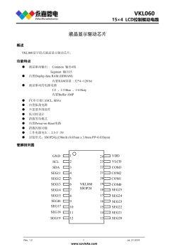 超低功耗LCD驱动芯片VKL060, SSOP24适用于有段式LCD面板的手表,医疗仪器等产品,工作电流小可以设置多种节点模式电子画册