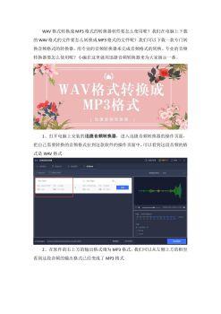 WAV格式转换成MP3格式的转换器软件要怎么使用电子刊物