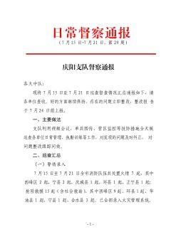 庆阳支队远程督察通报(7月15日-7月21日)