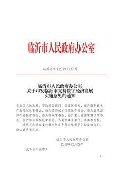 临政办字〔2019〕137号 临沂市人民政府办公室关于印发临沂市支持数字经济发展实施意见的通知宣传画册