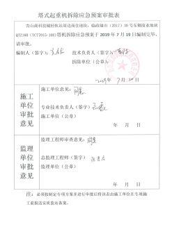 塔式起重机拆除救援应急预案审批表(6#)电子画册