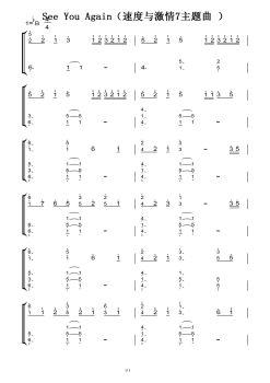 See-You-Again(速度与激情7主题曲-)(原版)钢琴双手简谱-钢琴谱电子画册