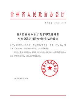 关于印发《贵州省小额贷款公司管理暂行办法》的通知电子画册