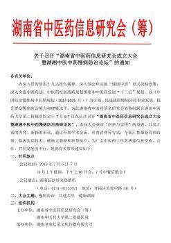 湖南省中医药信息研究会成立大会电子宣传册