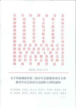 湘团联〔2018〕16号_关于举办湖南省第三届青年志愿服务项目大赛和青年社会组织公益创投大赛的通知(全公章)电子宣传册