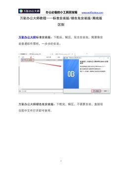 [办公必备软件]标准安装版/绿色免安装版/离线版区别电子宣传册