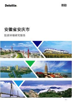 安徽省安庆市投资环境研究报告-完整版201903可以发电子刊物