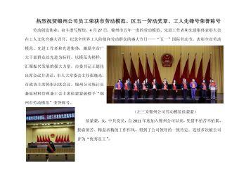 热烈祝贺锦州公司员工荣获市劳动模范、区五一劳动奖章、工人先锋号荣誉称号电子画册