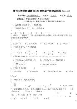 衢州市教学联盟体七年级数学期中教学诊断卷电子书