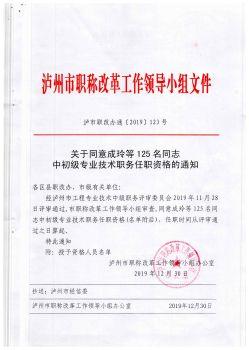 泸州市职称改革领导小组的文件-关于同意成玲等125名同志中初级职业职务任职资格的通知电子宣传册