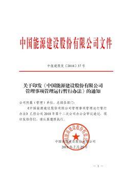 中能建股发〔2018〕37号  关于印发《中国能源建设股份有限公司管理事项管理运行暂行办法》的通知电子画册